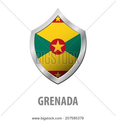 Grenada Flag On Metal Shiny Shield Vector Illustration.