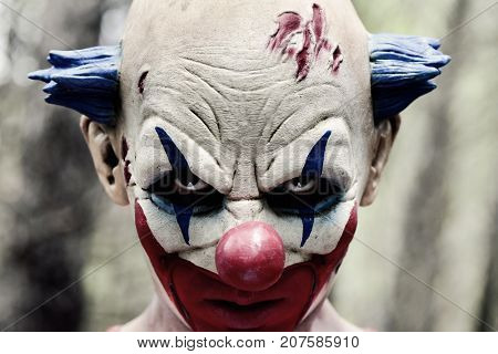 closeup of a scary evil clown with a disturbing look in his eyes in the woods