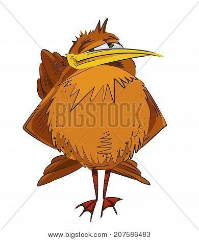 Scornful funny bird cartoon image. Artistic freehand drawing. Authentic cartoon.