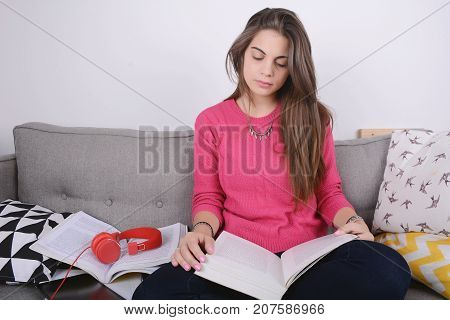 Young Woman Studying.