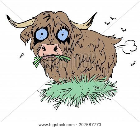 Farting hairy ox cartoon image. Artistic freehand drawing. Authentic cartoon.
