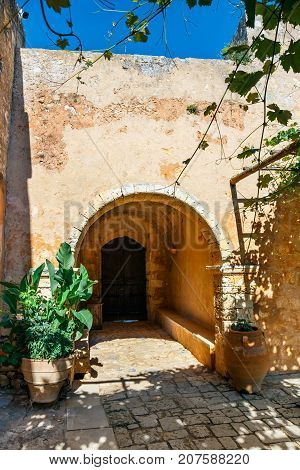 Arkadi Monastery Situated At The Southeast Of Rethymnon, Crete, Greece