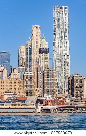 Skyscrapers In Lower Manhattan From Brooklyn Bridge Park, Nyc, Usa