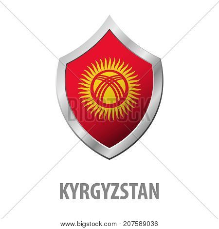 Kyrgyzstan Flag On Metal Shiny Shield Vector Illustration.