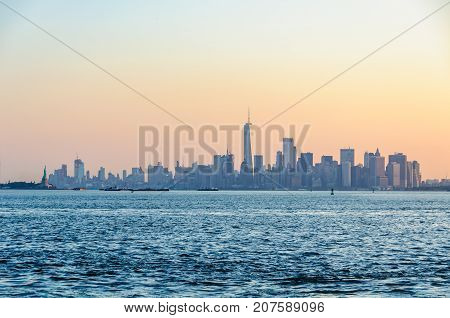 The First Light Over  Lower Manhattan, Nyc, Usa