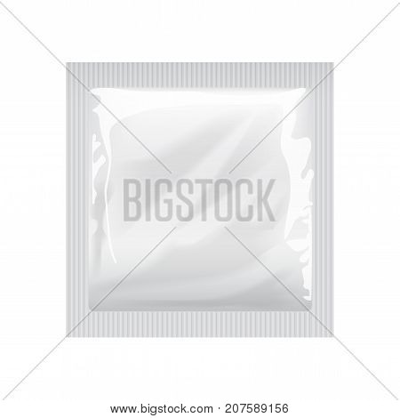 White Blank template Packaging with a condom, wet wipes Pouch Medicine Or Condom. Food Packing Coffee, Salt, Sugar, Pepper, Spices, Sweets for your design