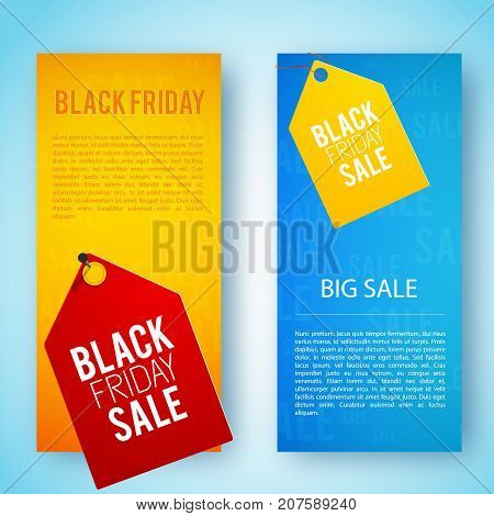 Two orange and blue colors vertical black friday banner set with big sale tags vector illustration