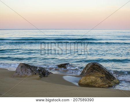 Deserted sandy beach at sunset. Nature Landscape, nature landscape, nature, landscape, stone nature, stone landscape.