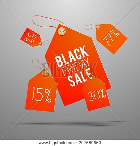 Five isolated shadowed sale tag set in orange color on gray background vector illustration