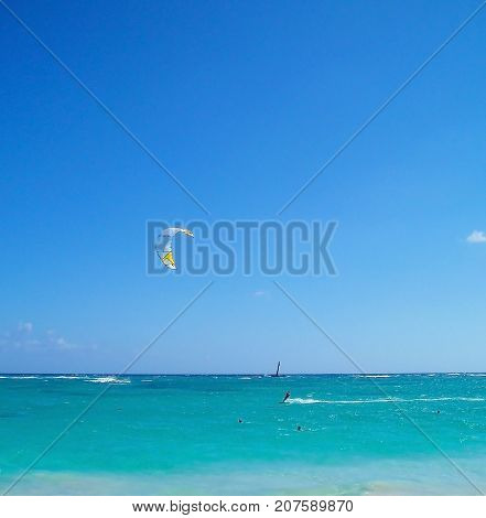 Azure Caribbean Sea. coast of the Dominican Republic. Caribbean Atlantic Ocean