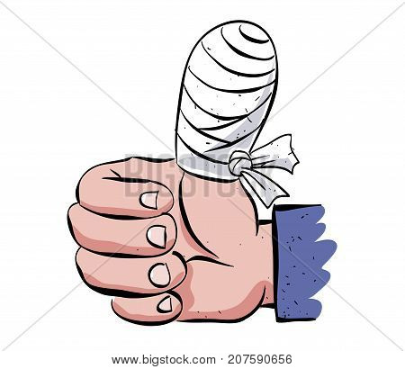 Wounded thumb bandaged, cartoon image. Artistic freehand drawing. Authentic cartoon.