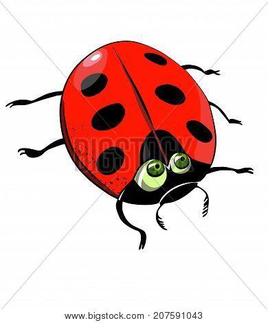 Funny puzzled ladybug, cartoon image. Artistic freehand drawing. Authentic cartoon.
