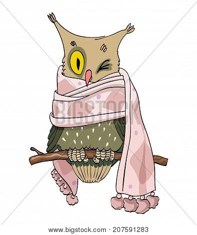 Wise owl wearing scarf, cartoon image. Artistic freehand drawing. Authentic cartoon.