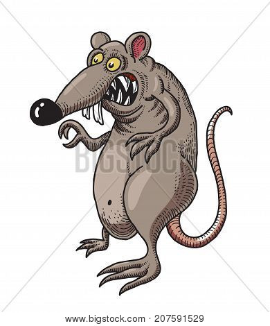 Monstrous rat cartoon image. Artistic freehand drawing. Authentic cartoon.