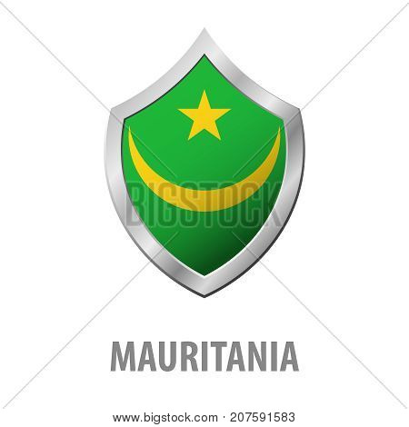 Mauritania Flag On Metal Shiny Shield Vector Illustration.