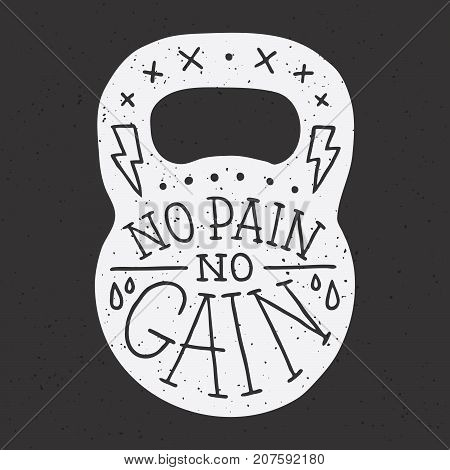 No pain no gain gym kettle bell vector illustration on black
