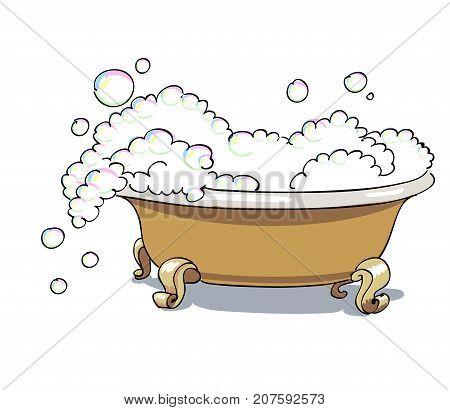 Bathtub cartoon image. Artistic freehand drawing. Authentic cartoon.