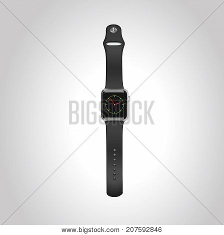 Vector Apple watch wport 42mm black aluminum case with black sport band with homescreen on the display. Front view.Eps10.