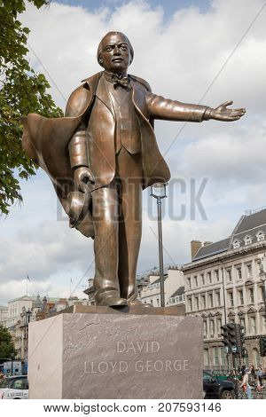 London 28th September 2017:-Statue of David Lloyd George British Prime Minister 1916-1922 located in Parliment Square