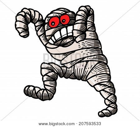 Funny mummy cartoon image. Artistic freehand drawing. Authentic cartoon.