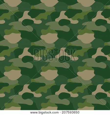 Green camouflage. Masking camo. Classic clothing print. Vector seamless pattern