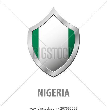 Nigeria Flag On Metal Shiny Shield Vector Illustration.