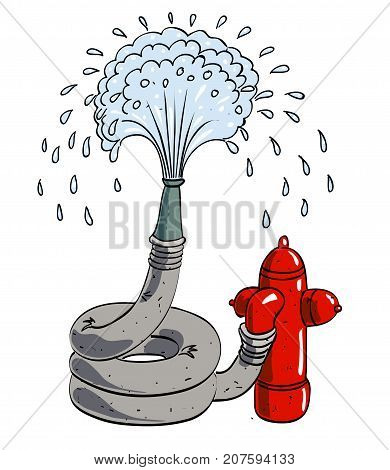 Hosepipe water fountain cartoon image. Artistic freehand drawing. Authentic cartoon.