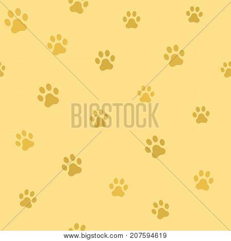 Dog paw track. Seamless animal pattern of paw footprint. Vector illustration.