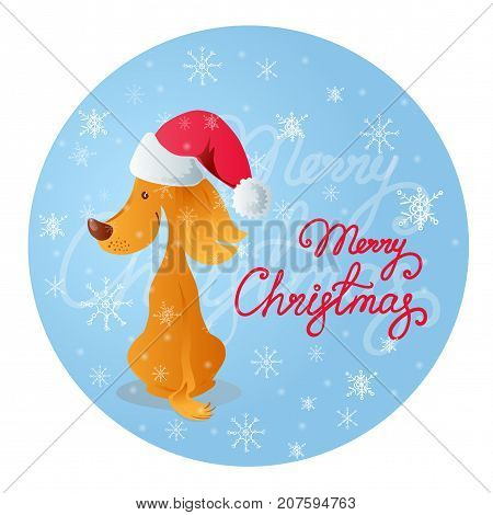 Vector illustration in cartoon style of a cute sitting smiling yellow dog in a red cap. Blue background with white snowflakes and red lettering Merry Christmas.