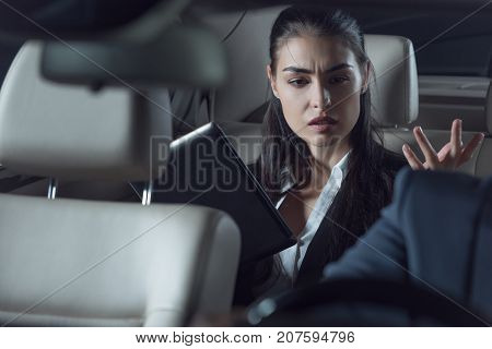 Upset Passenger Scolding Car Driver
