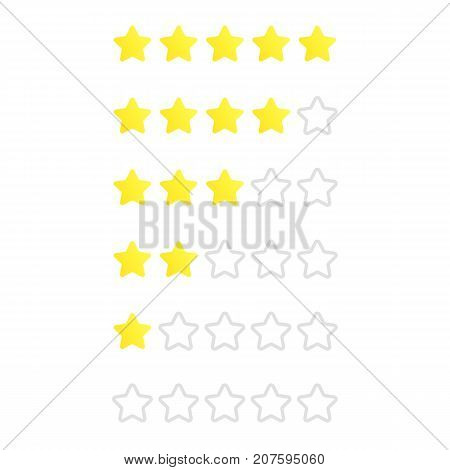5 stars rating. Consumer rating. Review. Feedback. Vector icon for web site or mobile app.