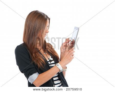 Woman Typing On Her New Electronic Tablet Touch Pad