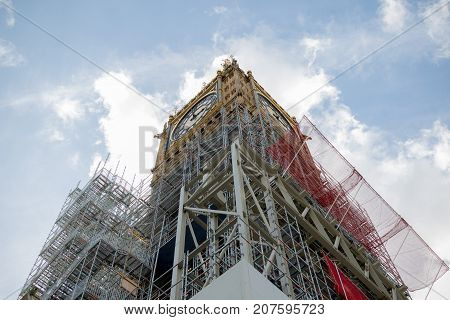 London 28th September 2017:- The Palace of Westminster home to the British Parliment with scaffolding due to renovation work on the UNESCO world heritiage site.