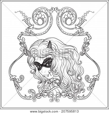 Portrait of a young beautiful girl in Halloween or Day of the Dead make up in decorative frame. Outline hand drawing coloring page for the adult coloring book. Stock line vector illustration.