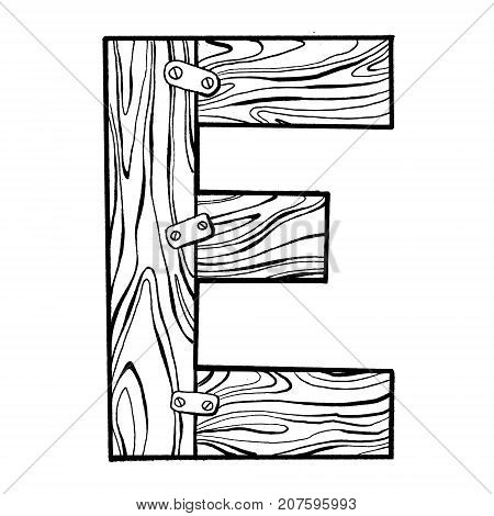 Wooden letter E engraving vector illustration. Font art. Scratch board style imitation. Hand drawn image.