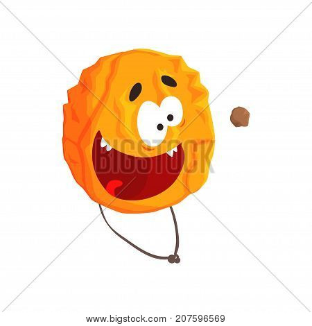 Cute humanized Venus planet character, orange sphere with funny face cartoon vector Illustration isolated on a white background