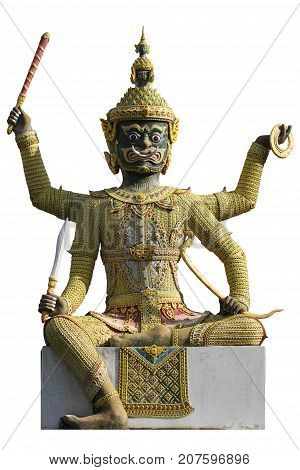 Thai style titan giant statue isolated on white backgrounds, One of character Monster guardian in Thai culture fiction, sitting 4 hands giant god holding weapon