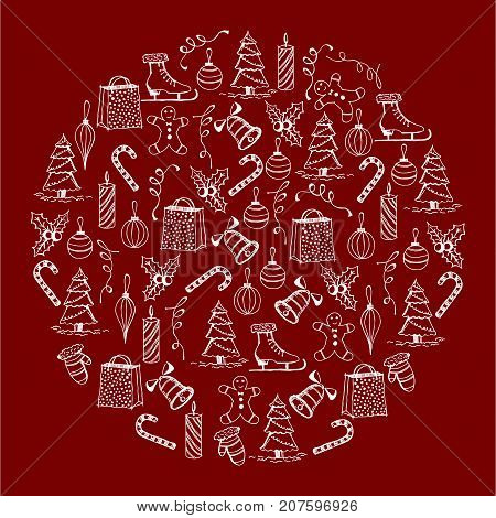 Christmas illustration on the red background. Christmas objects. Christmas lollipop, bells, skates, cookies, gifts, toys mittens candles