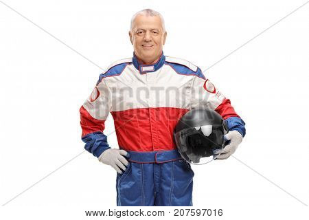 Mature man in a racing suit holding a gray helmet isolated on white background