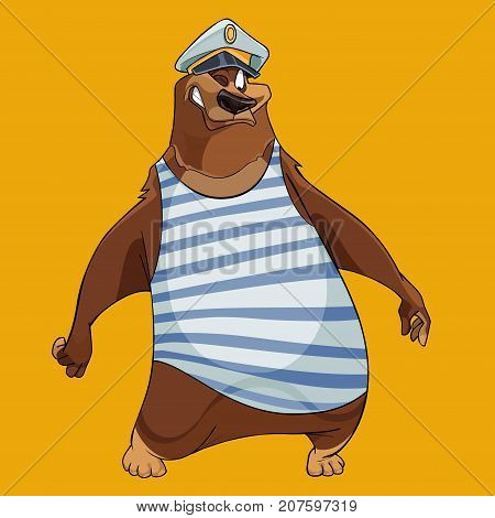 cheerful cartoon bear with the hat of a sea captain and the vest
