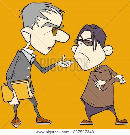 two cartoon caricature men quarrel and sort things out