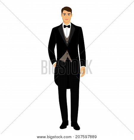 The groom. Clothing. Wedding men's suit tuxedo Vector illustration