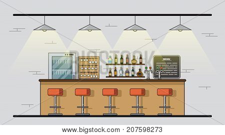 Picture of bar counter with chairs and alcohol bottles on shelves. Bar, pub, restaurant, night club concept. Flat style line art illustration.