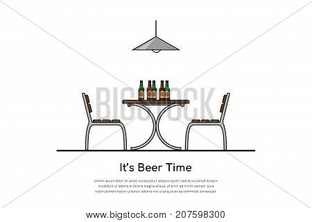 picture of a table with two chairs and beer bottles, beer time concept, flat style line art illustration