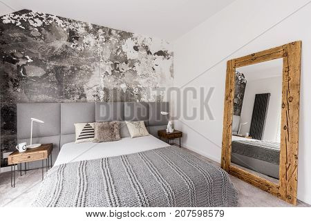 Grey, King-size Bed In Bedroom
