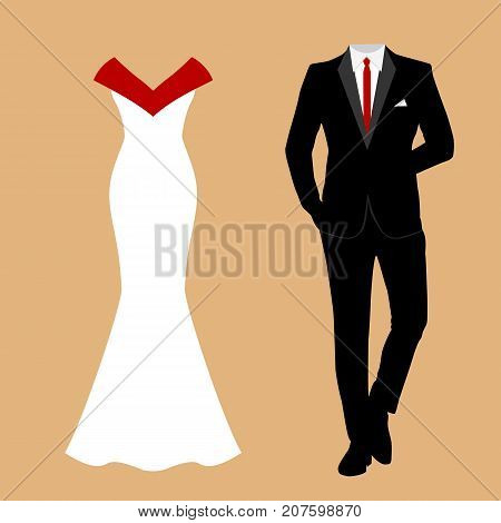 Wedding Card With The Clothes Of The Bride And Groom.