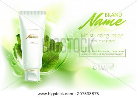 Advertising Poster Cosmetics Shampoo, Lotion, Shower Gel With Extract Or Mint Flavor. A Model For Th
