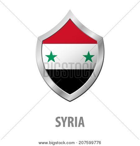 Syria Flag On Metal Shiny Shield Vector Illustration.
