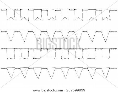 Hand Drawn Doodle Bunting Banners Set For Decoration. Doodle Banner Set, Bunting Flags, Border Sketc