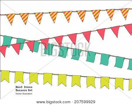 Hand Drawn Colorful Doodle Bunting Banners Set For Decoration. Doodle Banner Set, Bunting Flags, Bor